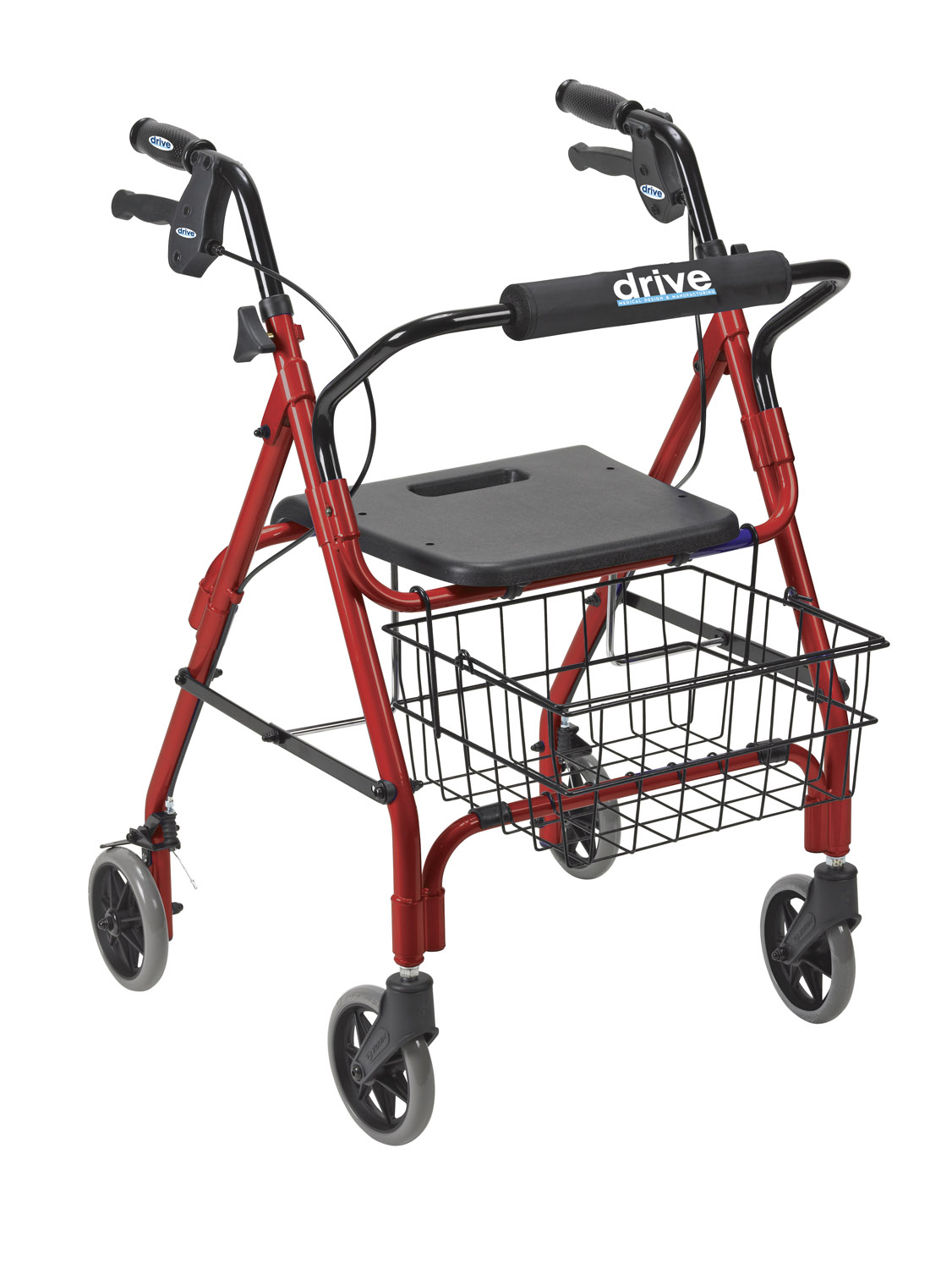Rollator with hand brake